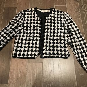 Oleg Cassini Black Tie B&W Sequins Jacket Size 8